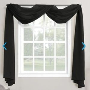 Sheer Voile Window Curtain Scarf Black NEW